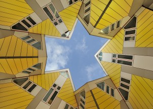 Sky view from inside cube house in Rotterdam