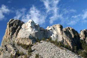 Presidents heads carved into granite on Mount Rushmore