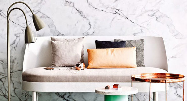 Sofa with marble backdrop