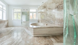 curved stone bathroom