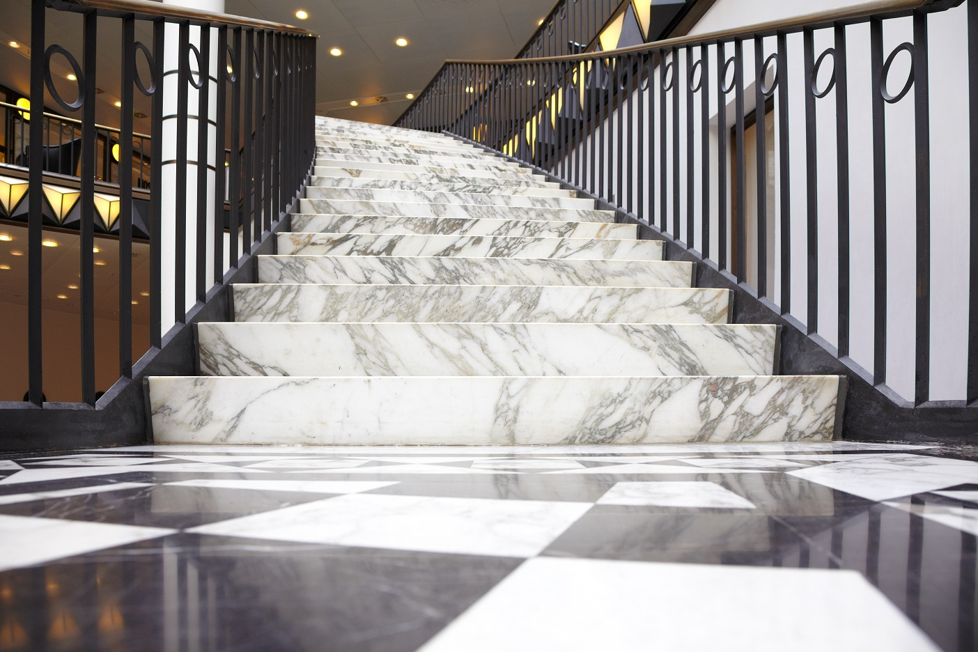White marble stair in luxury shopping mall